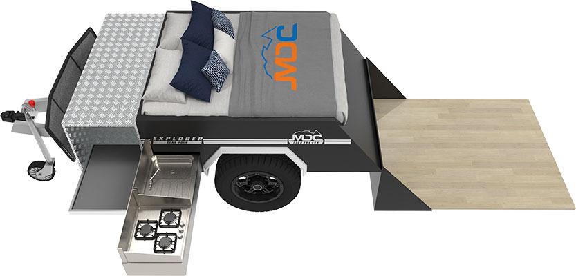 MDC Explorer Rear Fold Offroad Camper Trailer 3D Floorplan