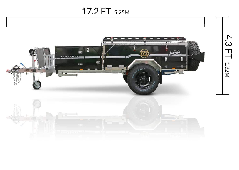 MDC USA Explorer Forward Fold overlanding camper trailer dimensions