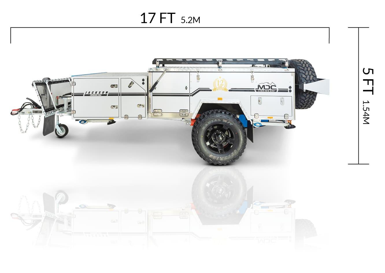 MDC USA Jackson Forward Fold overlanding camper trailer dimensions