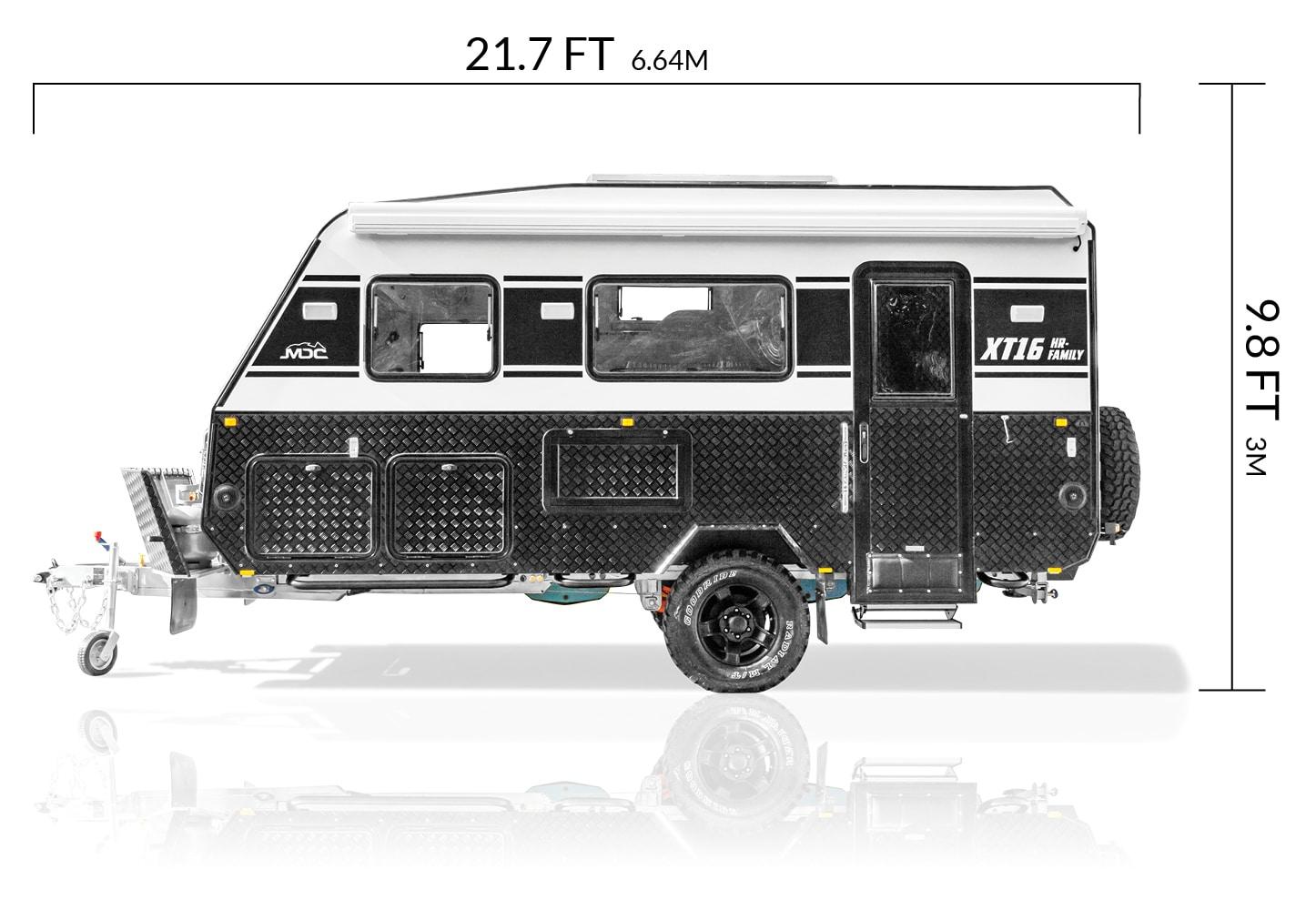 MDC USA XT16HR Family overlanding caravan dimensions